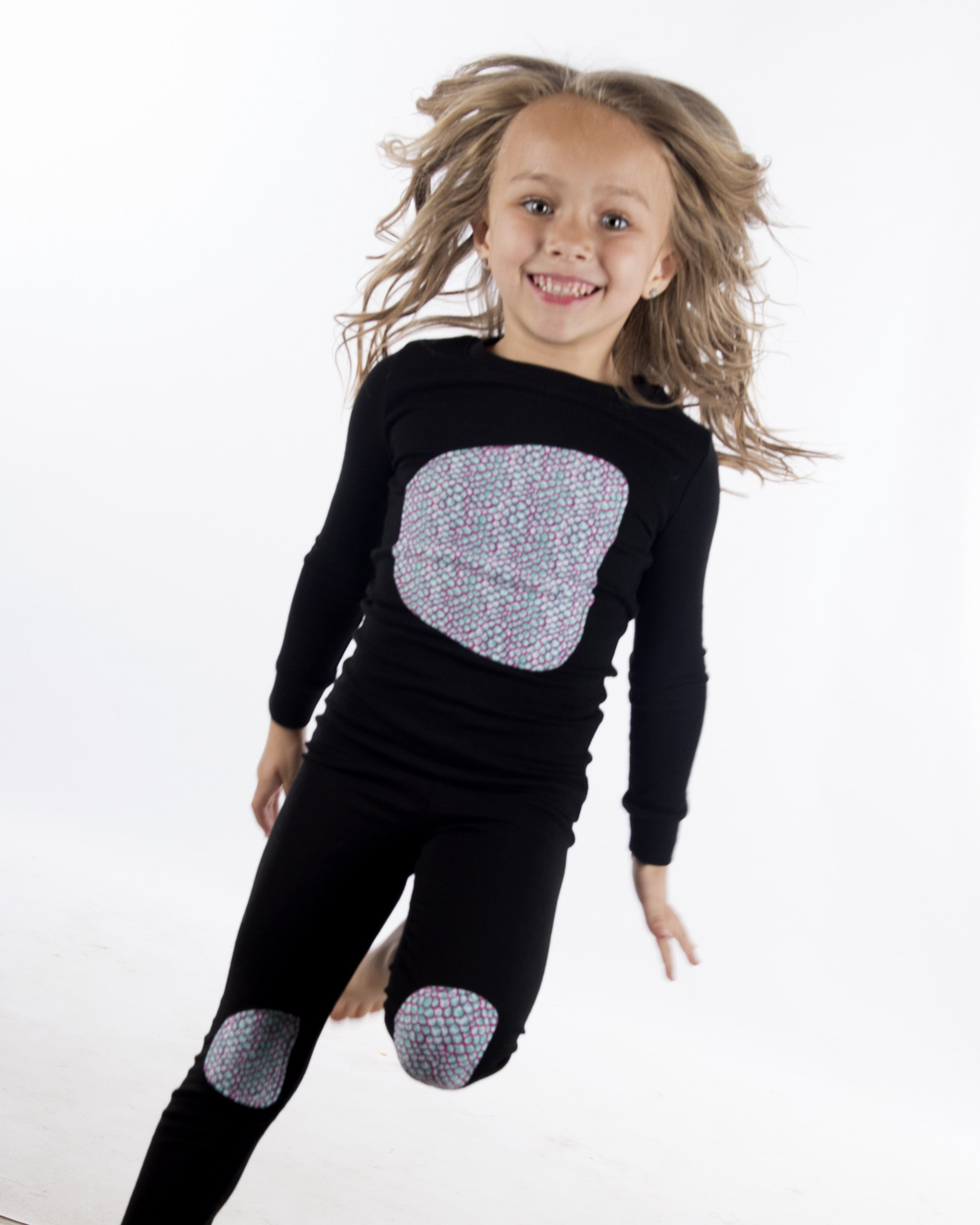 Jack and Becky SOFT Black Pajamas With Girls Scales Patch