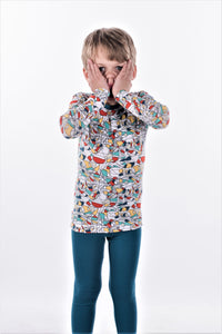 Jack and Becky SOFT Blue Bamboo Pajamas With Boys Scribble Print