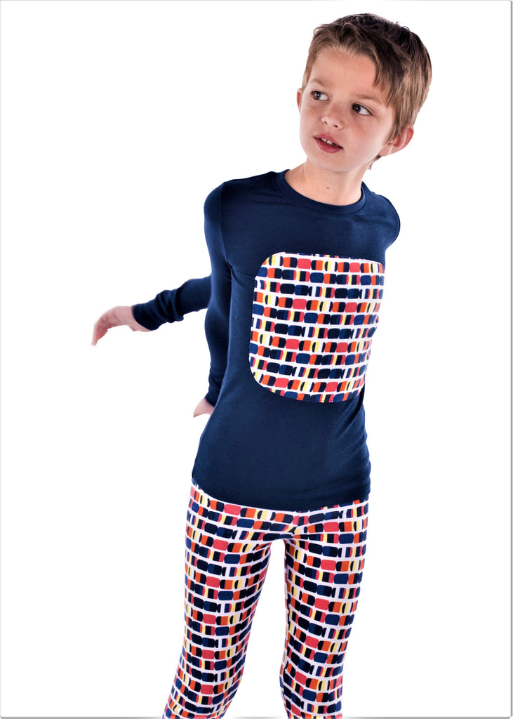 Jack and Becky SOFT Blue Karen Pajamas With Boys Square Patch