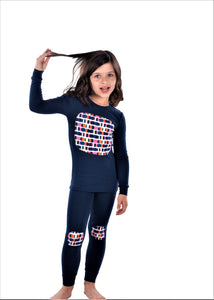 Jack and Becky SOFT Blue Karen Pajamas With Girls Square Knee Patch