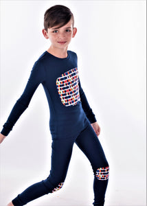 Jack and Becky SOFT Blue Karen Pajamas With Boys Square Knee Patch