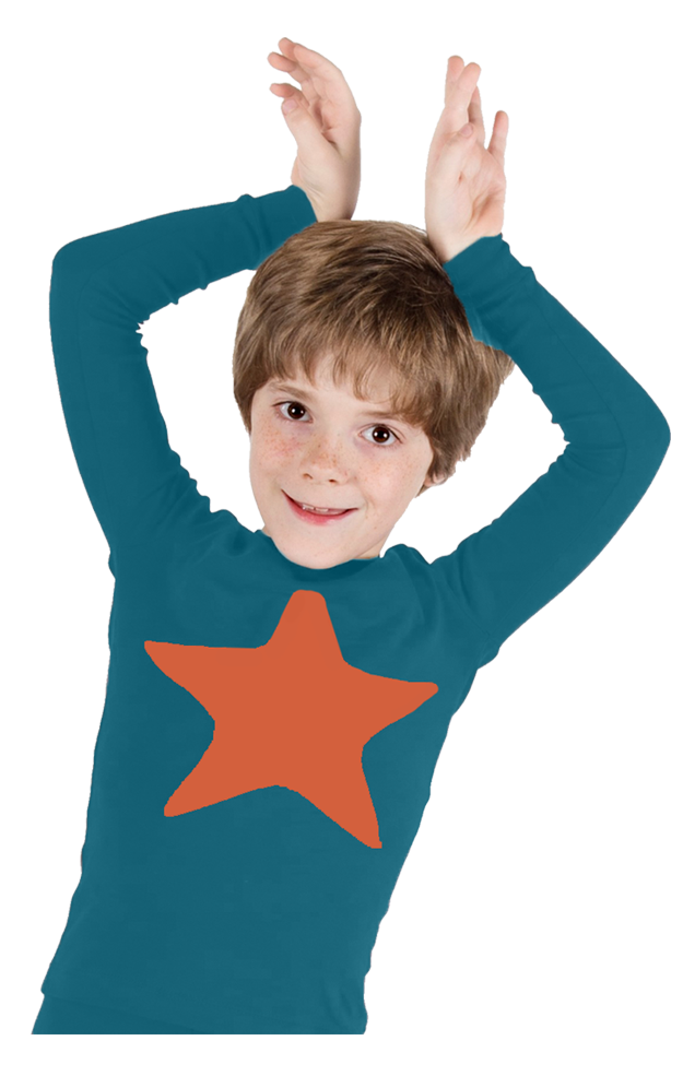 Jack and Becky Indigo Pajamas With Clementine Star Patch