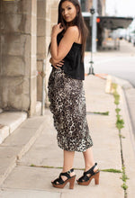 Grey Leopard Knee Length Skirt
