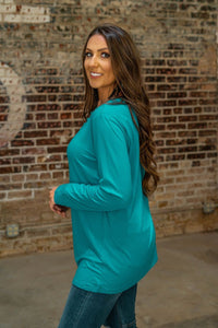 Liz Turquoise Caged Neck Top