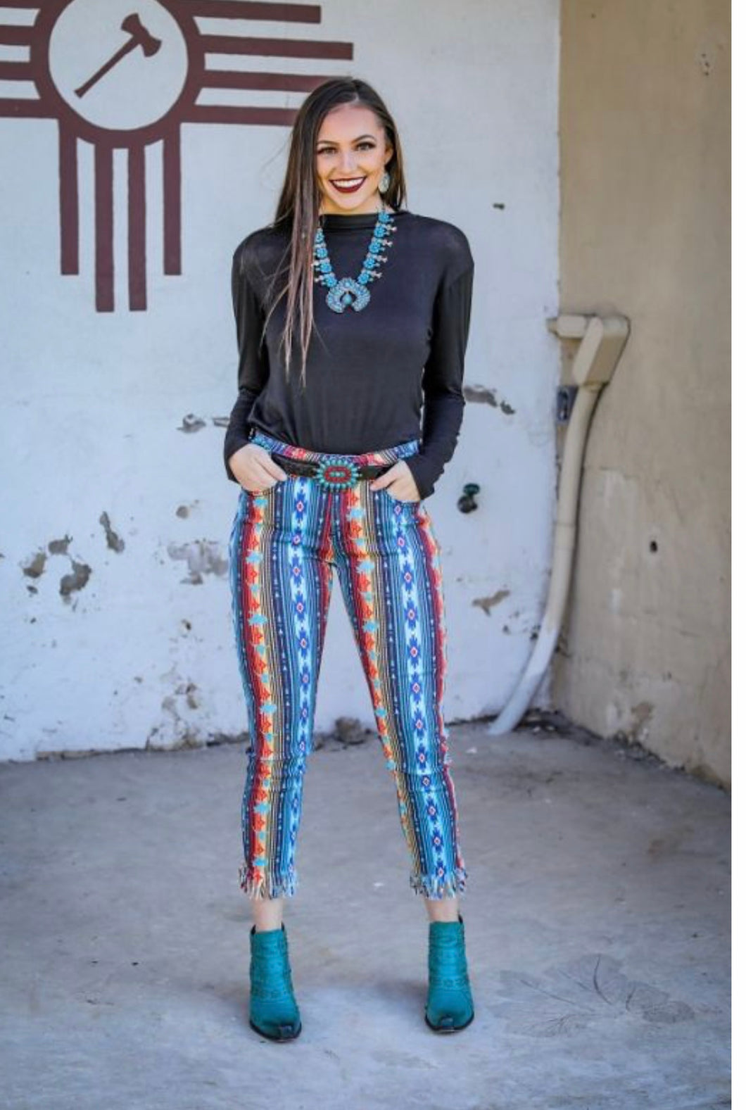 Serape Mid Rise Frayed Bottom Skinny Jeans