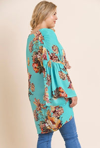 Mint Floral Bell Sleeve Kimono Regular and Curvy Plus