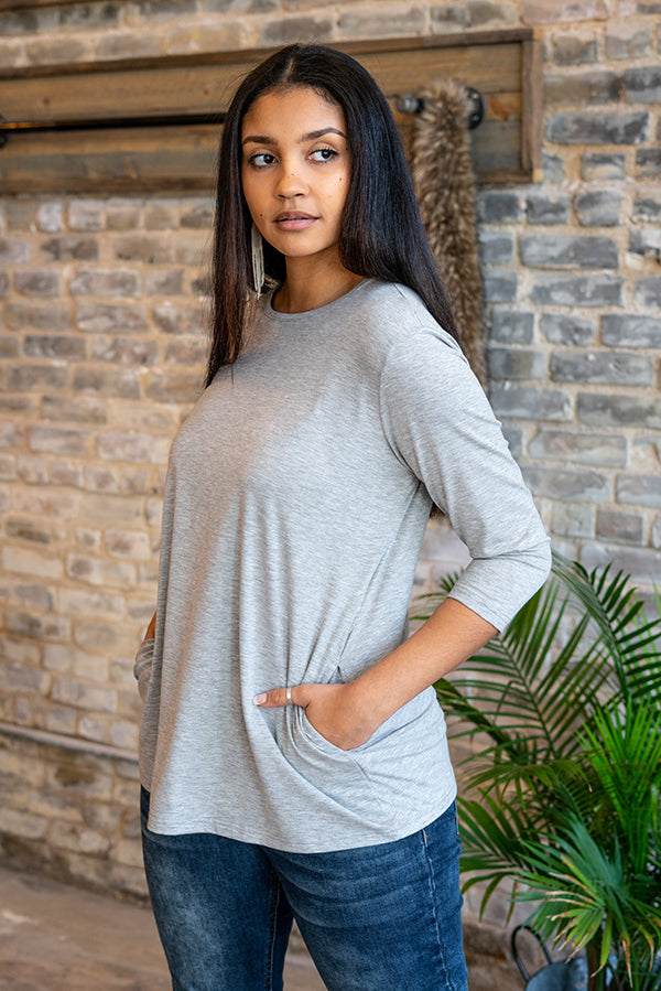 Hottie Heather Gray Tunic Top with Pockets