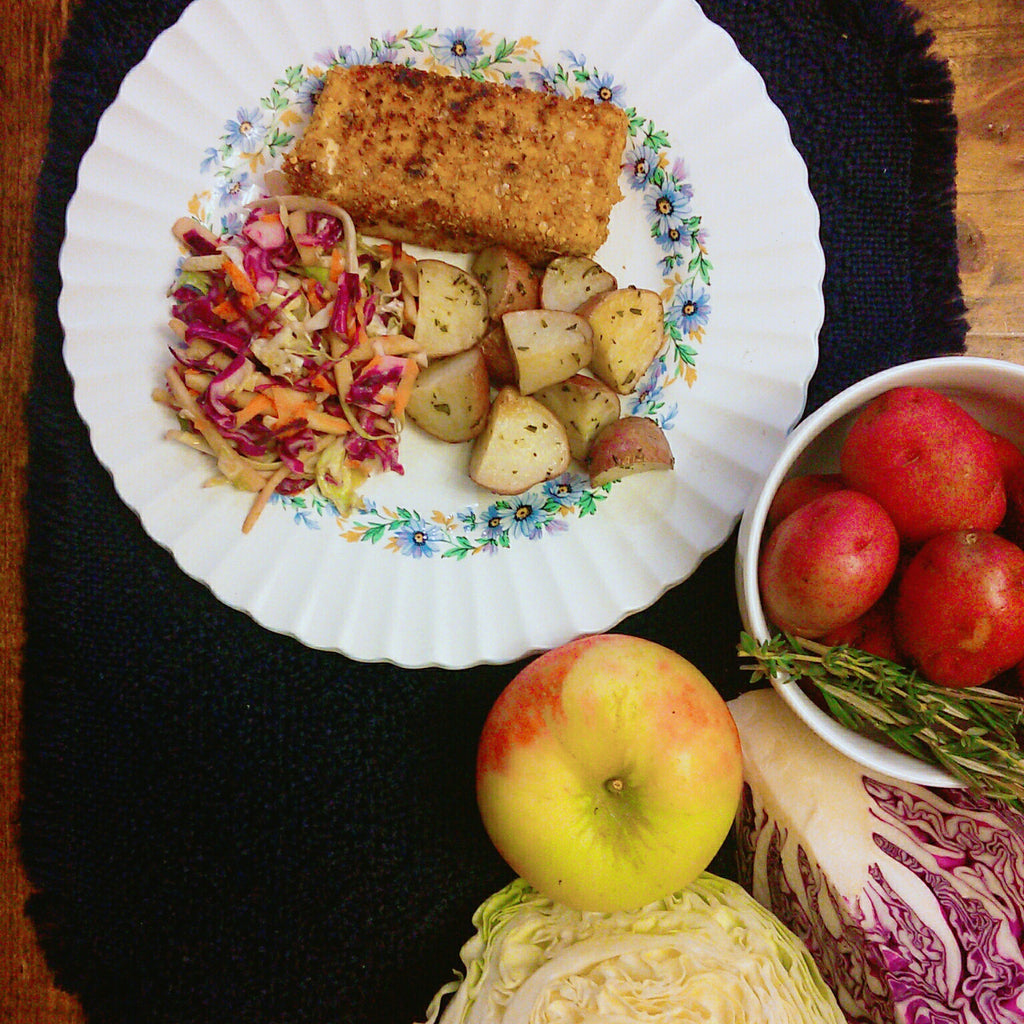Crusted Rockfish, Slaw & Roasted Potatoes