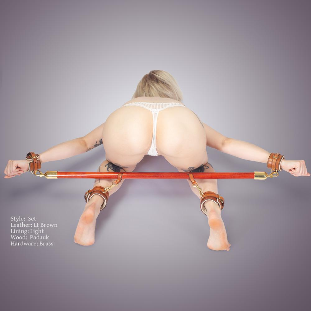 Premium BDSM Spreader Bar made from Padauk with Solid Brass Hardware and Lt Brown Leather from LVX Supply