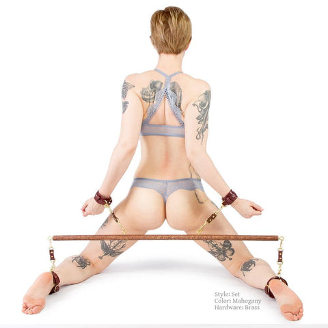 BDSM Spreader Bar and Cuffs Set. Bondage Restraints handmade by LVX Supply & Co.