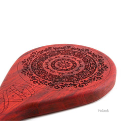 BDSM Paddle for Spanking, Bondage, and Impact Play. Floral Paddle in Padauk. LVX Supply & Co.
