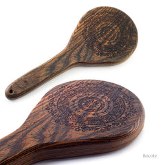 BDSM Paddle for Spanking, Bondage, and Impact Play. Floral Paddle in Bocote from LVX Supply & Co.