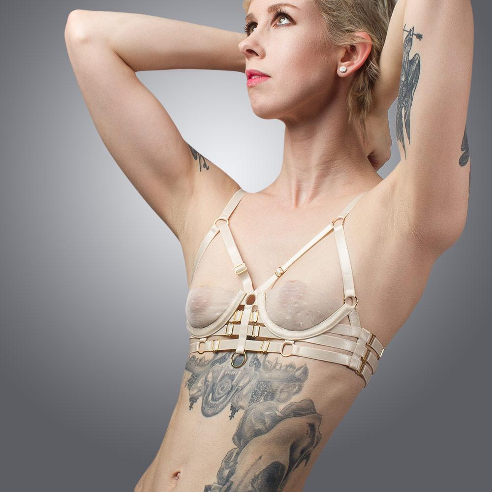 Handmade Luxury Strap Sheer Bra | Lingerie by LVX Supply