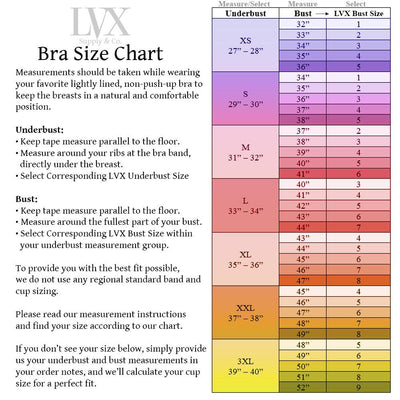 Bra Size Chart for LVX Supply & Co | Handmade Bras by LVX Supply & Co
