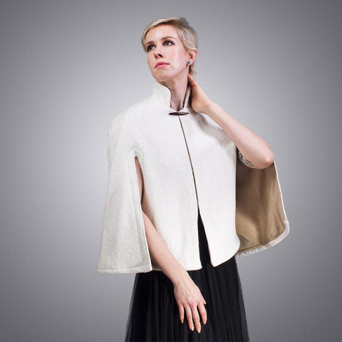Micro-suede Lined Boiled Wool Capelet | Handmade by LVX Supply