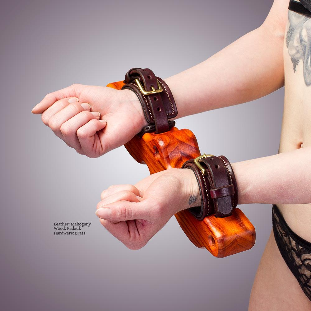Wood & Padded Leather Stocks | BDSM Cuffs by LVX Supply & Co