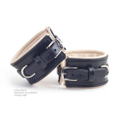 BDSM Cuffs - Black Padded Leather with Light Lining and Polished Nickel Hardware | Handmade by LVX Supply | Richmond, VA USA