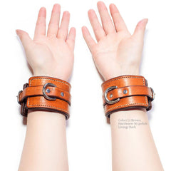 BDSM Cuffs - Lt Brown Padded Leather with Dark Lining and Polished Nickel Hardware | Handmade by LVX Supply | Richmond, VA USA