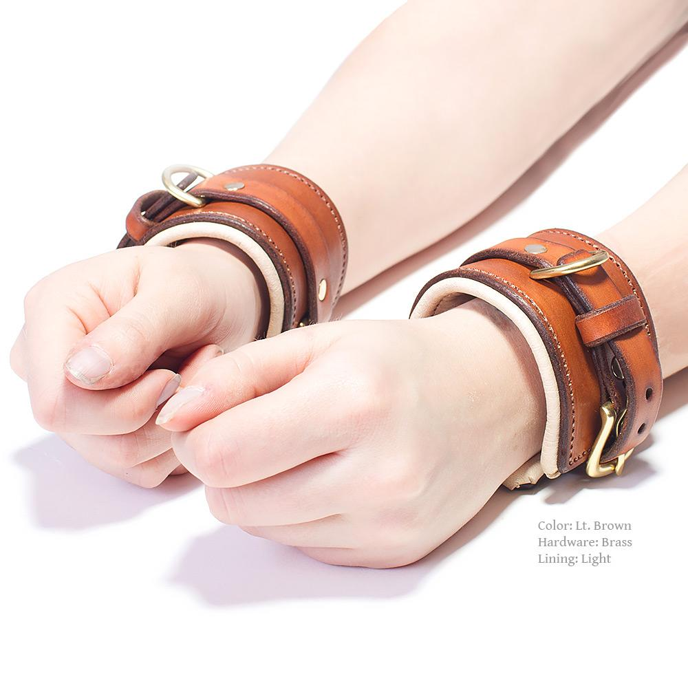 Bondage Cuffs - Lt Brown Padded Leather with Dark Lining and Polished Nickel Hardware | Handmade by LVX Supply | Richmond, VA USA