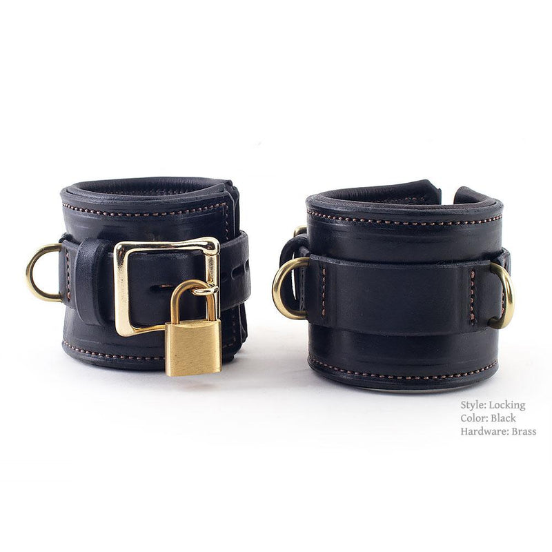 Heavy Duty BDSM Cuffs with Locking Hardware and Locks | Padded and Stitched Bondage Cuffs from LVX Supply