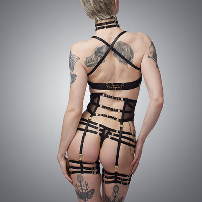 Deco Complete Lingerie Set Back View | Luxury Handmade Lingerie by LVX Supply