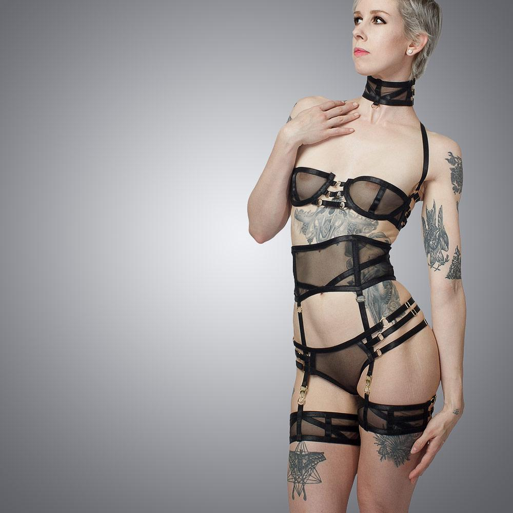 Deco Complete Lingerie Set Front View | Luxury Handmade Lingerie by LVX Supply