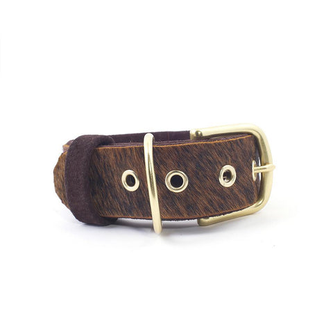 Hair-On Leather BDSM Collar with Large Buckle from LVX Supply & Co.
