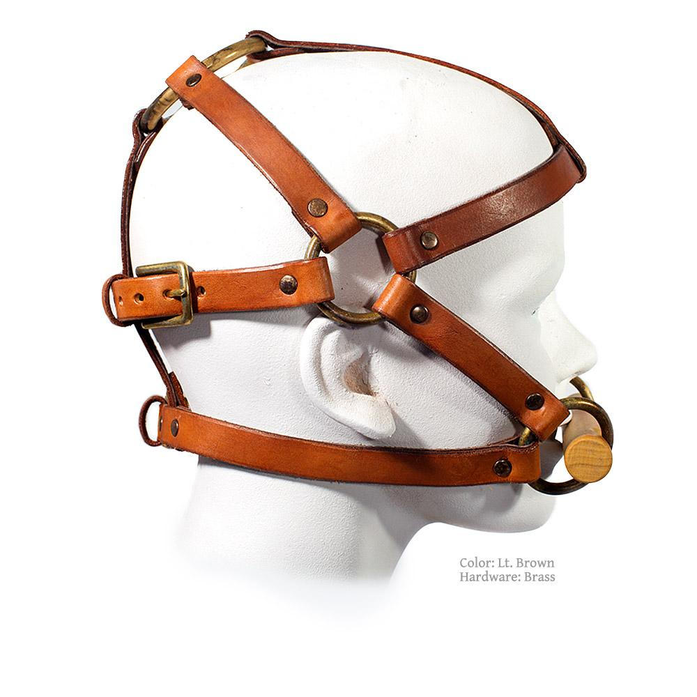 Leather Head Harness Halter with Bit Gag for BDSM, Bondage, Pony Play