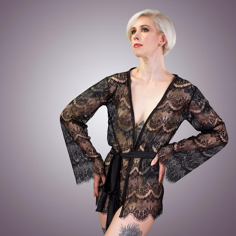 Sheer Lingerie Robe Kimono Style Lace Coverup by LVX Supply & Co
