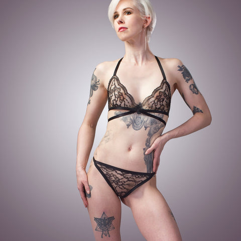 Stretch mesh lace bra and panty set | Handmade Lingerie by LVX Supply & Co