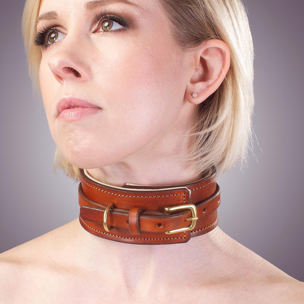 BDSM Collar | Padded Leather Bondage Collar | Lt Brown with Light Lining | LVX Supply & Co