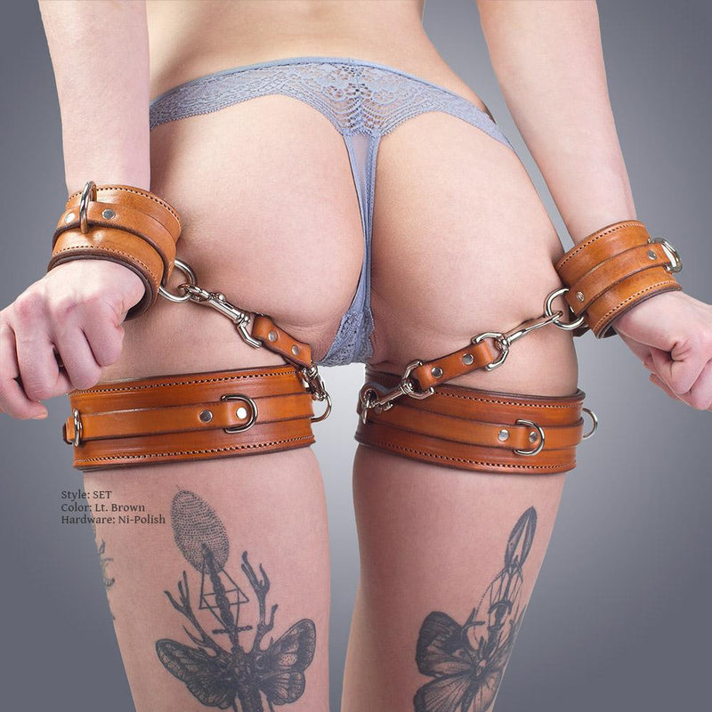 Handmade Padded Leather Thigh Harness Garters for BDSM Bondage by LVX Supply