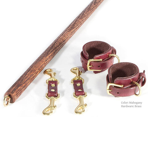 BDSM Spreader Bar with Leather BDSM Cuffs handcrafted by LVX Supply & Co.
