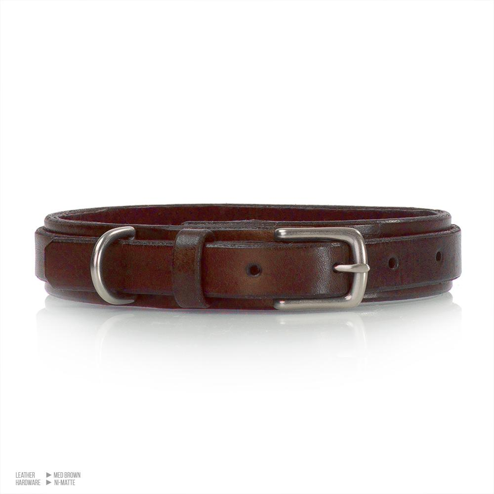 Low Profile BDSM Collar | Suede Lined Leather Bondage Collar | Med Brown Matte Nickel | Handmade by LVX Supply