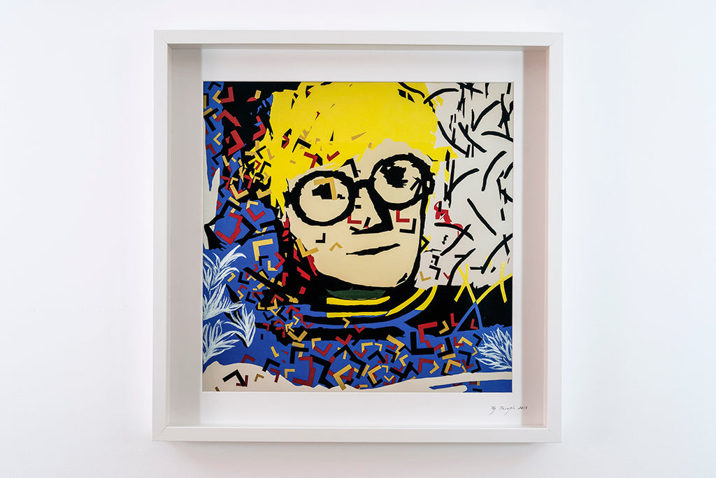 "HOCKNEY - framed and signed print (20""x20"")"