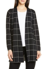 Eileen Fisher Check Wool Cardigan