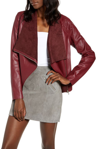 onto the next leather drape jacket in rich berry