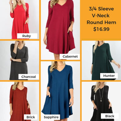 3/4 Sleeve V-Neck Round Hem Dress (ONLY M Black left)