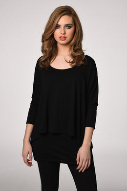 3/4 Sleeve Two Layer Shirt in Black from ISLE
