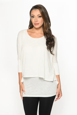 3/4 Sleeve Two Layer Shirt in Pearl LUX  from ISLE