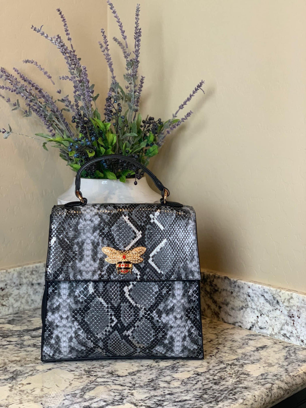 Vegan Snake Skin Purse with Embellished Bee