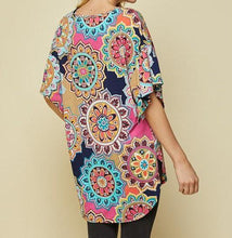 Floral Fun Print Long Tail Blouse - ONLY S AVAILABLE - RUNS BIG