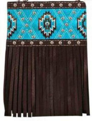 Chic Bags - Wear 4 Ways - Turquoise with Brown Fringe - Western