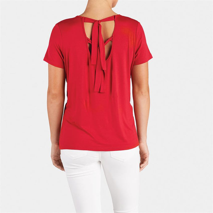 Coco and Carmen Red Tie Back Tee/ONLY  1 S/M LEFT
