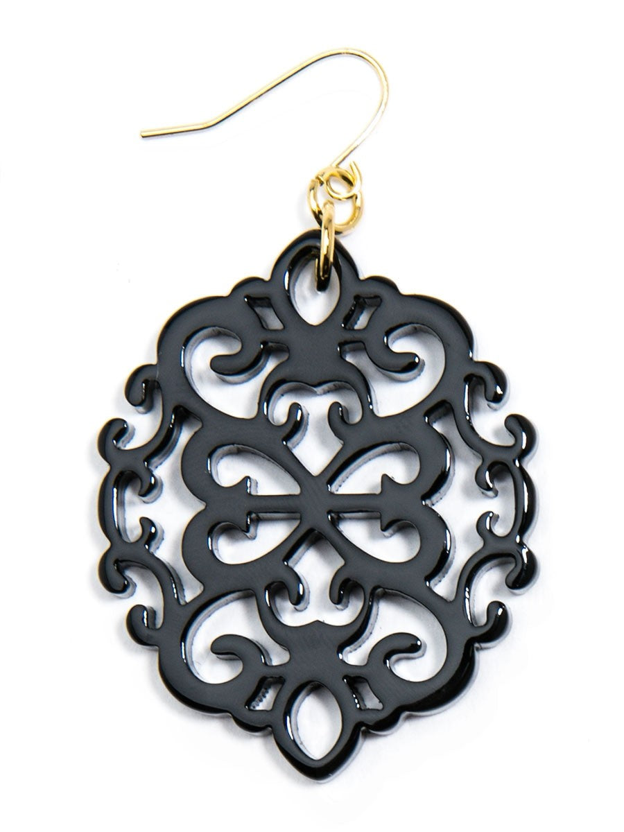 Modern Damask Pattern Resin Earring in Black