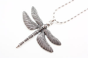 Large Dragonfly Necklace on Beaded Chain