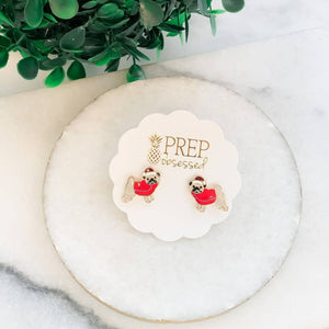 Pug with Santa hat and Red Sweater Holiday Enamel Earrings