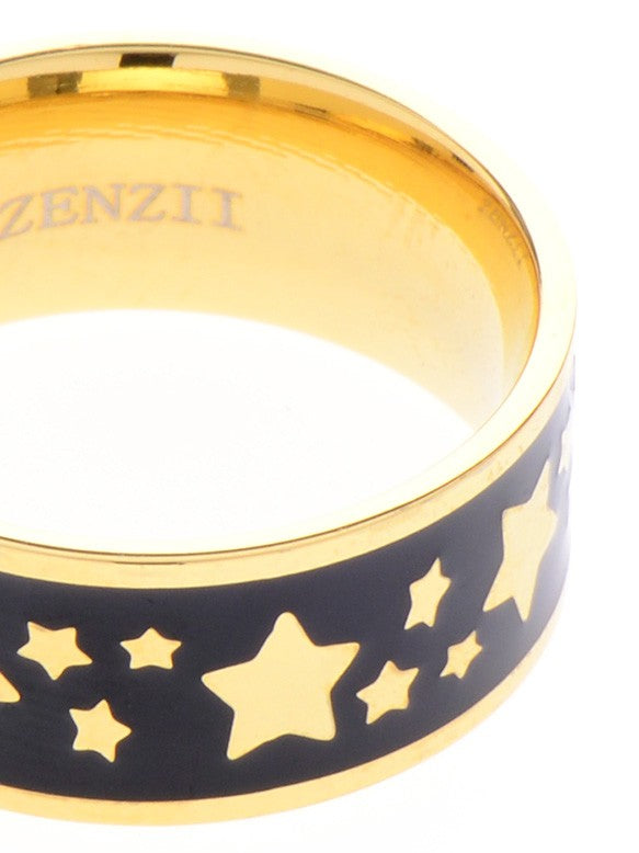 Colored Enamel Banded Star Ring  in Black