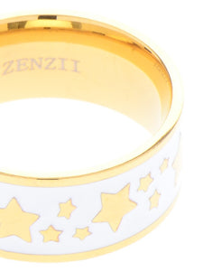 Colored Enamel Banded Star Ring in White