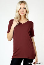Cotton V-Neck  Short Sleeve T-shirt in Various Colors